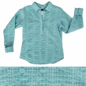 Patagonia snake print collared shirt teal size 10